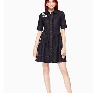 kate spade embroidered denim shirt dress 4 nwt